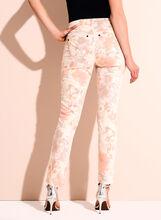 Floral Print Slim Leg Ankle Jeans, Orange, hi-res
