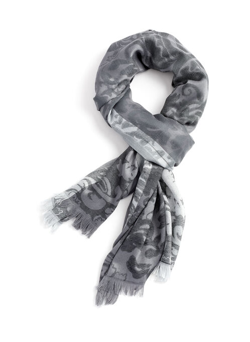 Tonal Paisley Wrap, Grey, hi-res