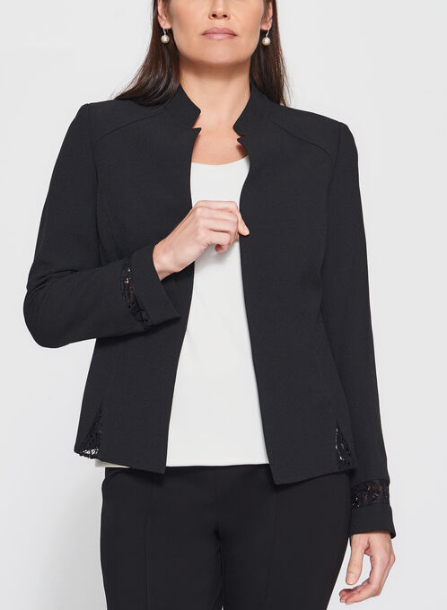 Tahari - Lace Trim Open Front Blazer, Black, hi-res