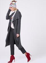 Ottoman Knit Cascading Front Cardigan  , Grey, hi-res
