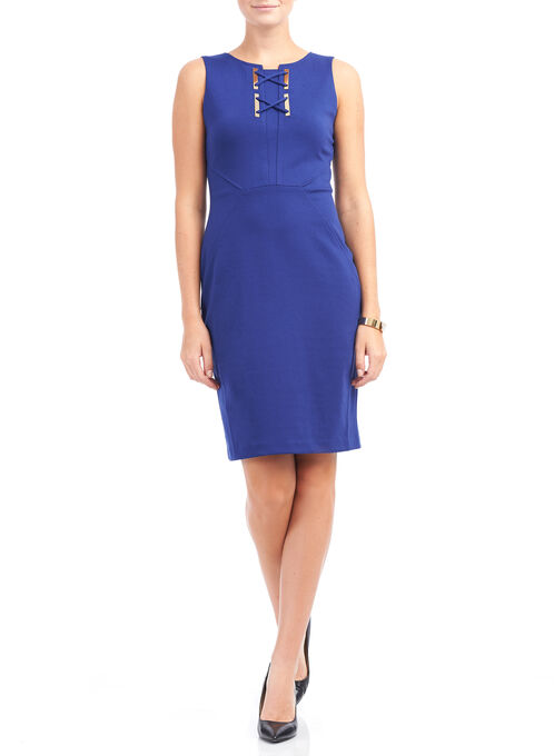 Ivanka Trump Crisscross Detail Dress, Blue, hi-res
