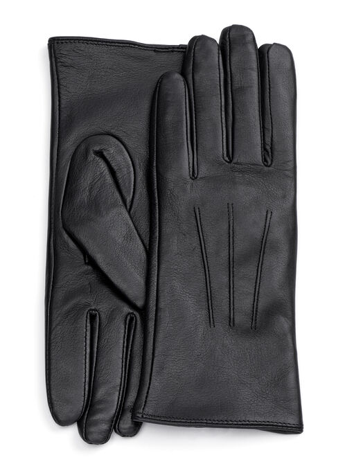 Stitch Detail Leather Gloves, Black, hi-res
