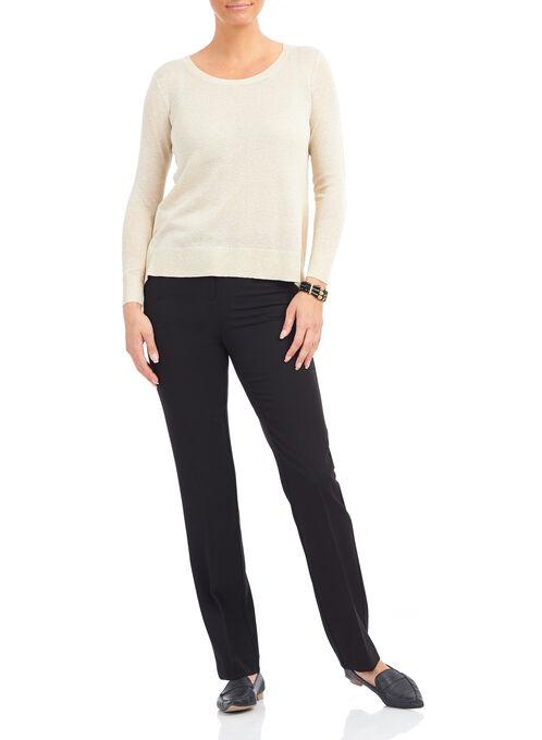 Slit Back Knit Sweater, Off White, hi-res