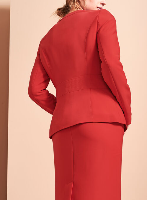 Tassel Trim Zip Front Jacket, Red, hi-res
