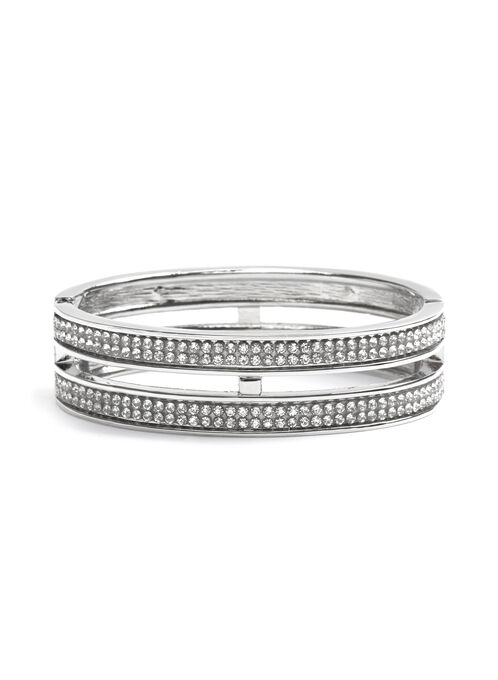 Crystal Embellished Bangle , Silver, hi-res