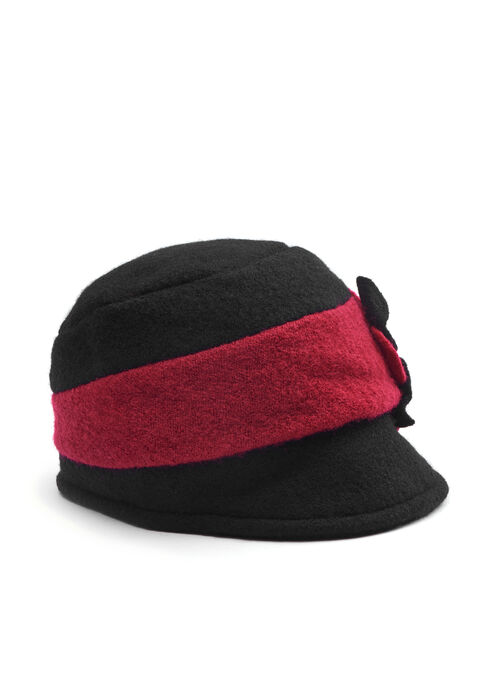 Flower Trim Wool Bouclé Hat, Red, hi-res