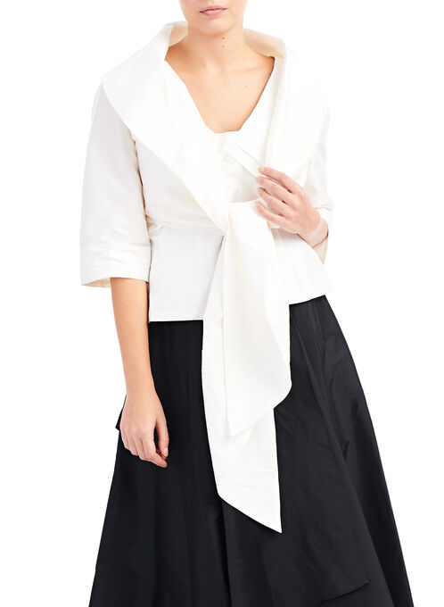 Adrianna Papell 3/4 Sleeve Taffeta Bolero , Off White, hi-res