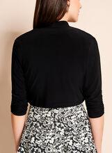 3/4 Sleeve Shirred Jersey Bolero, Black, hi-res