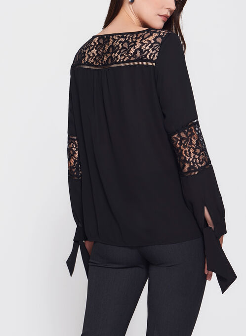 Long Sleeve Crepe Blouse, Black, hi-res