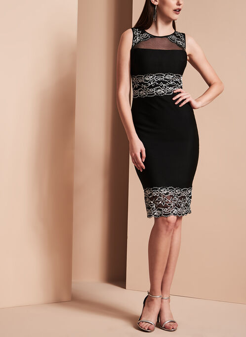 Jax Sleeveless Lace & Mesh Satin Crepe Dress, Black, hi-res