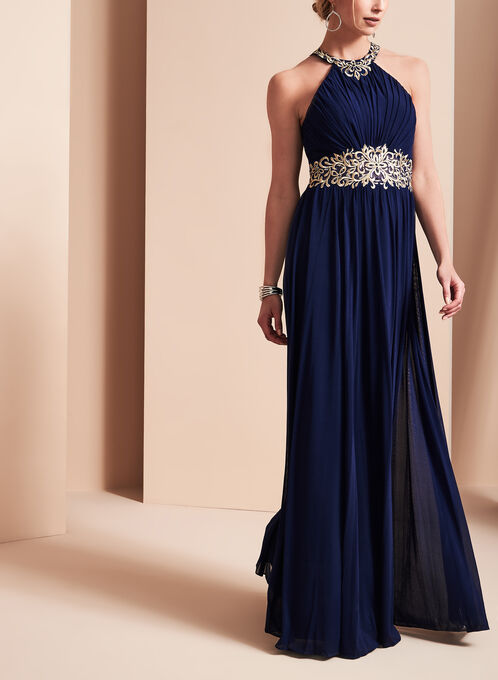 Beaded Halter Neck Gown, Blue, hi-res
