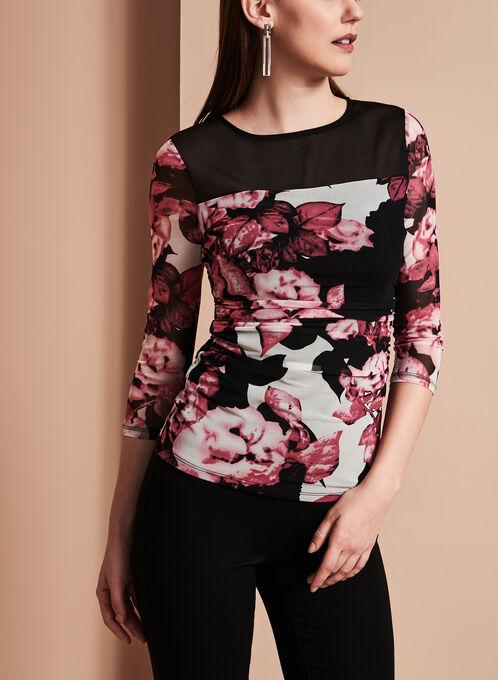 3/4 Sleeve Floral Print Mesh Blouse, Red, hi-res