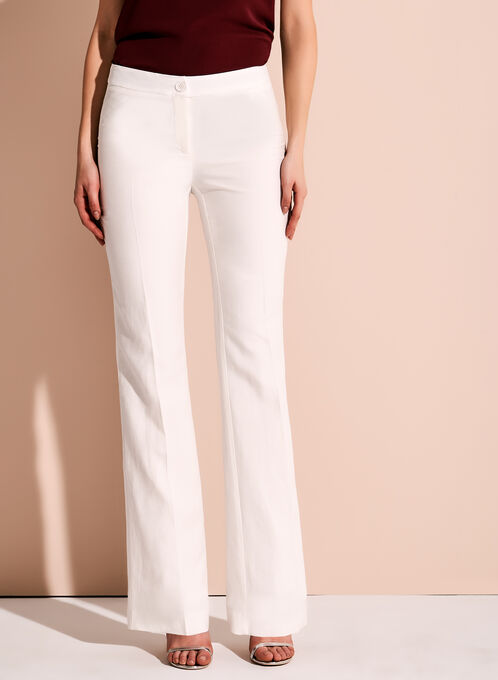 Wide Leg Linen Pants, Off White, hi-res