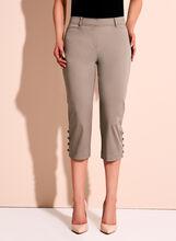 Sateen Button Trim Capri Pants, Grey, hi-res