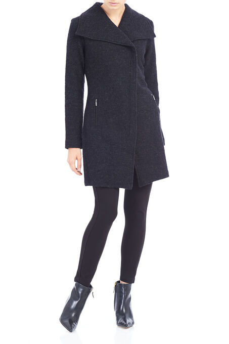 Linea Domani Asymmetrical Wool Coat, Grey, hi-res