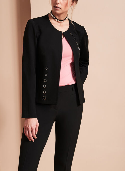 Vex Grommet Detail Knit Blazer, Black, hi-res