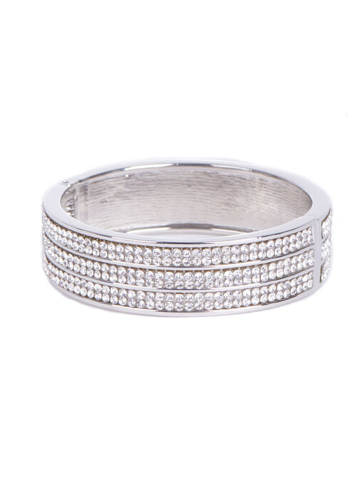 Crystal Bangle Bracelet , Silver, hi-res