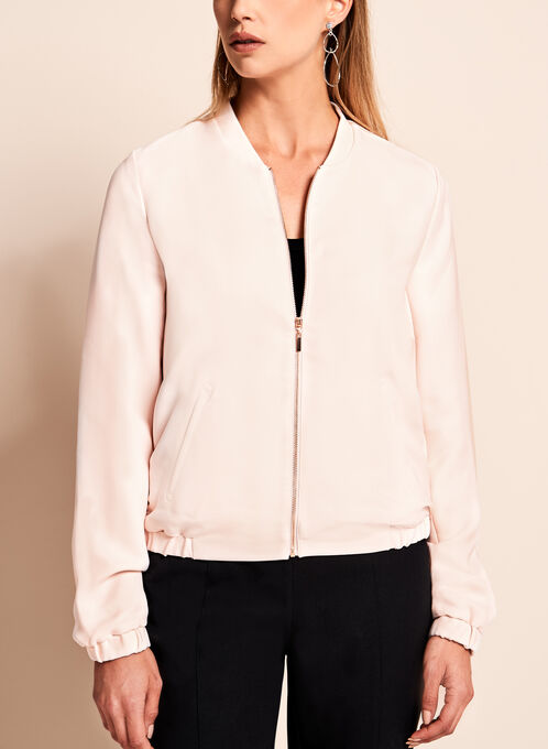 Solid Bomber Jacket, Off White, hi-res