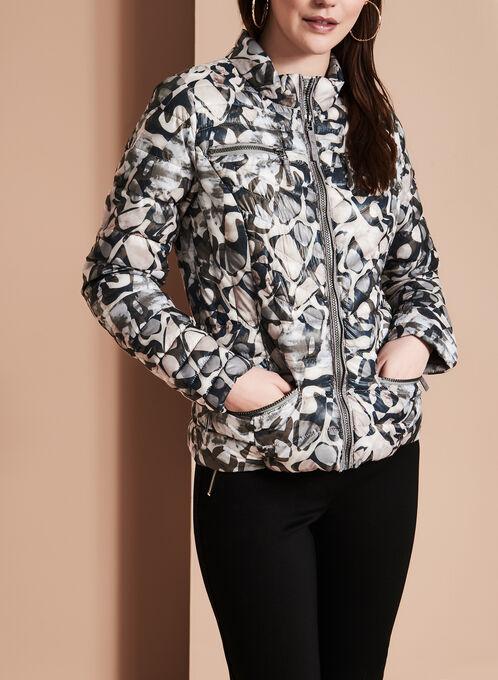 Manteau Etage en duvet matelassé imprimé , Multi, hi-res