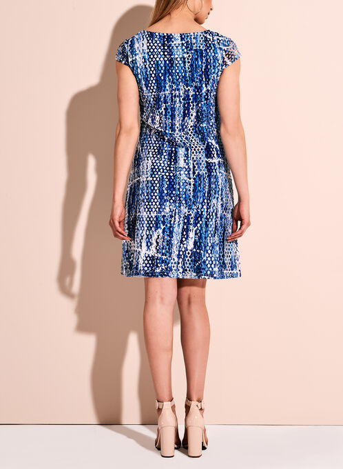 Linea Domani Printed Mesh Overlay Dress, Blue, hi-res