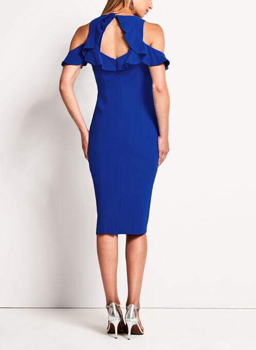 Maggy London Cold Shoulder Ruffle Dress, Blue, hi-res
