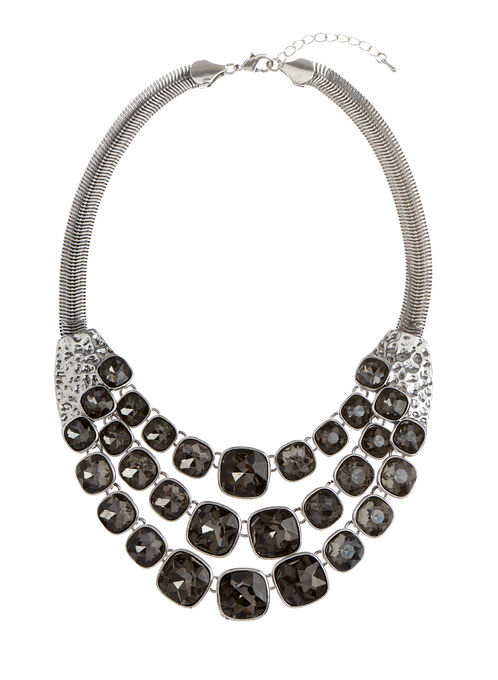 Triple Row Stone Faceted Necklace, Grey, hi-res