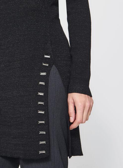 Studded Glitter Tunic Sweater, Black, hi-res