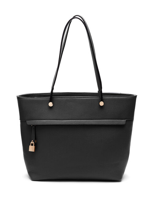 Faux Leather Tote Bag , Black, hi-res