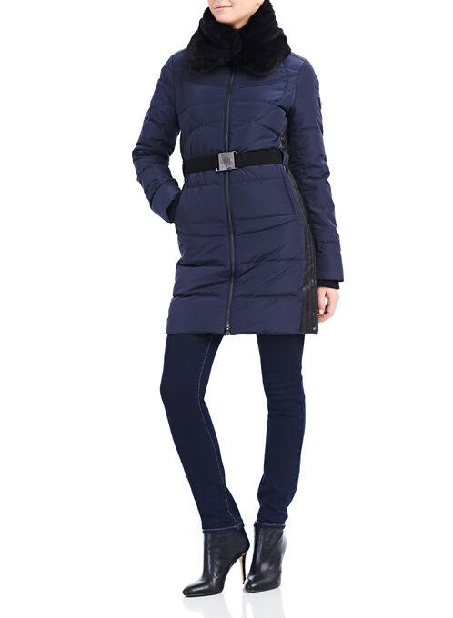Faux Leather & Down Coat , Blue, hi-res