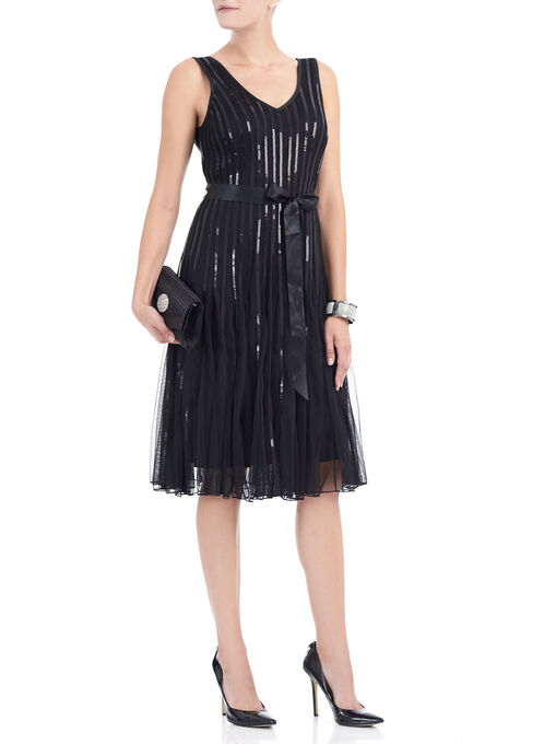 Sleeveless Sequined Mesh Dress, Black, hi-res