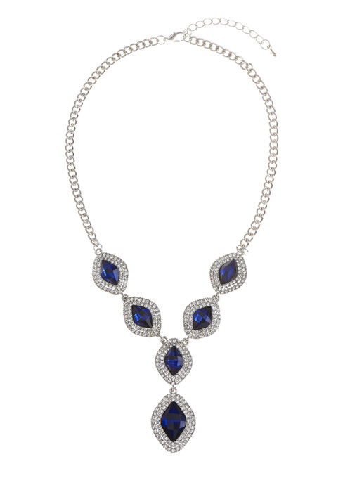 Stone Faceted Y Necklace, Blue, hi-res