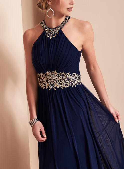 Beaded Halter Neck Gown , Blue, hi-res