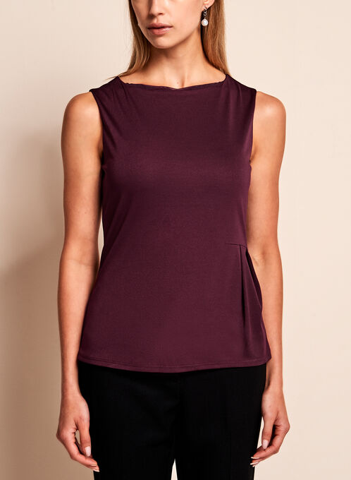 Side Pleated Jersey Top, Red, hi-res