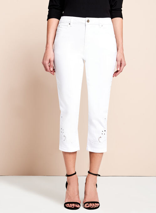 Simon Chang Cotton Capri Pants, White, hi-res