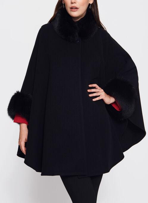 Fur Trimmed Cashmere Cape, Black, hi-res