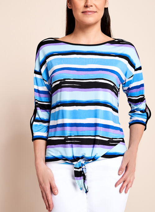 Stripe Print Cold Shoulder Top, Purple, hi-res
