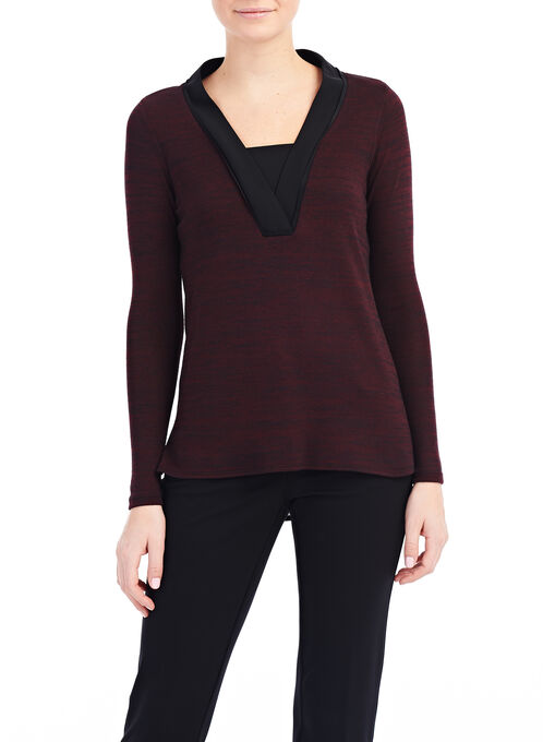 Long Sleeve Woven Blouse, Red, hi-res