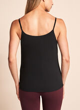 Double Layer Crepe Tank Top, Black, hi-res