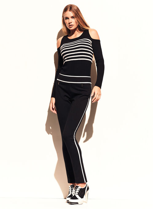 Stripe Print Cold Shoulder Sweater, Black, hi-res