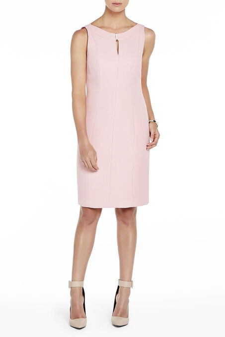 Tahari Jacquard Metal Trim Dress, Pink, hi-res