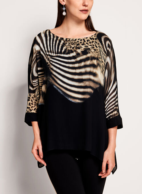 Frank Lyman - Animal Print Poncho Blouse, Black, hi-res