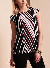 Stripe Print Flutter Sleeve Blouse, , hi-res