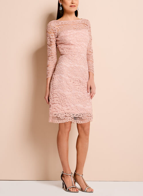 Jax Sparkle Lace Sheath Dress, Pink, hi-res