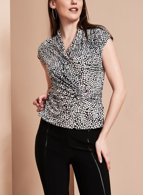 Printed Side Buckle Blouse, Black, hi-res