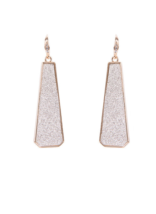 Geometric Glitter Earrings , Gold, hi-res