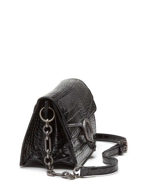 Textured Faux Leather Crossbody Handbag, Black, hi-res