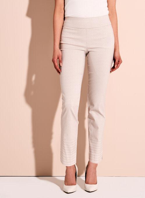 Pantalon cheville à motifs géométriques à jambe étroite, Brun, hi-res