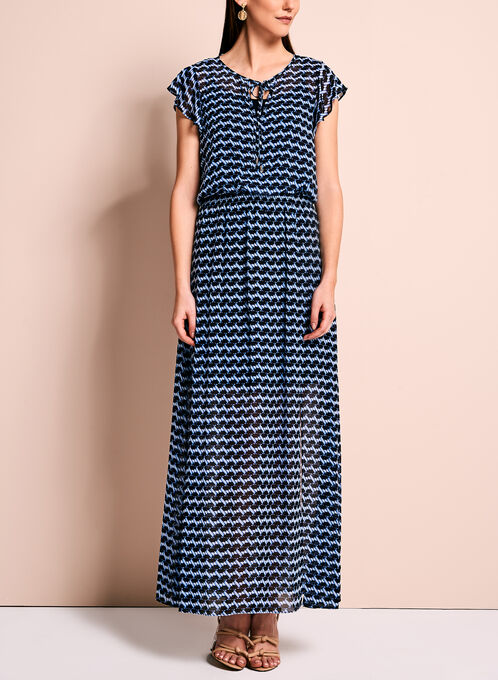 Graphic Print Maxi Dress, Blue, hi-res