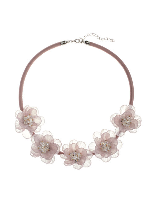 Floral Motif Collar Necklace, Pink, hi-res