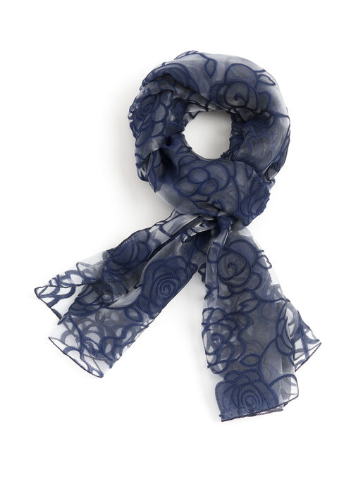 Sheer Rose Print Wrap Scarf, Blue, hi-res